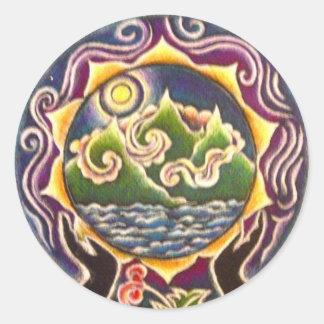 地球の天恵の曼荼羅のステッカー ラウンドシール