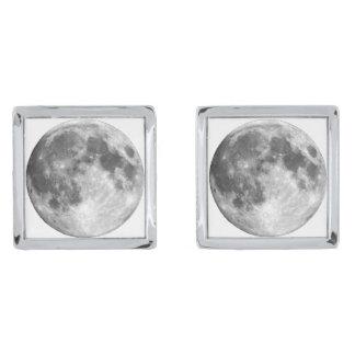 地球の月(太陽系)の~ 銀色 カフリンク