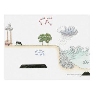 地球の炭素サイクルのイラストレーション ポストカード