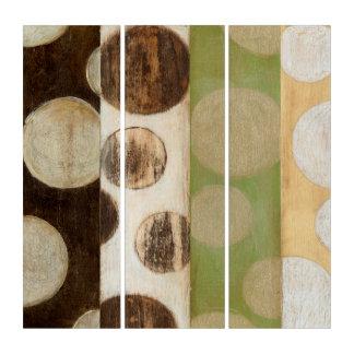 地球の調子の円との木製のパネルの絵画 トリプティカ