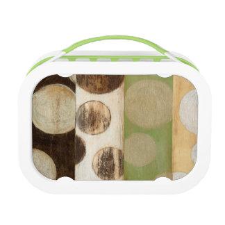 地球の調子の円との木製のパネルの絵画 ランチボックス