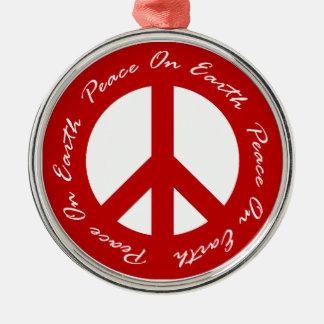 地球の赤い休日のピースサインの平和 メタルオーナメント
