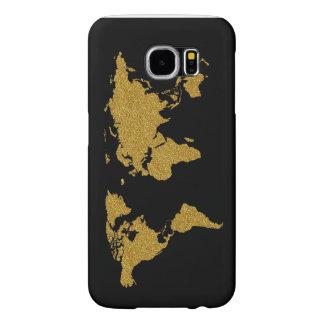 地球の金色の地図 SAMSUNG GALAXY S6 ケース