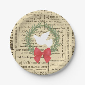 地球の鳩、オリーブの葉、タイポグラフィ、弓の平和 ペーパープレート