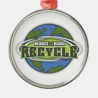 地球は減らし、再使用し、そしてリサイクルします メタルオーナメント