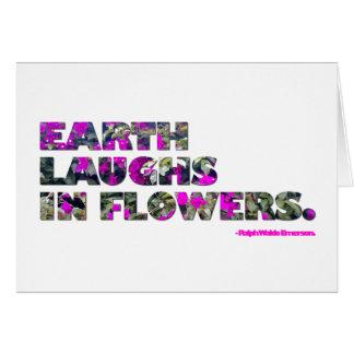 地球は花で笑います。 ラルフ・ワルド・エマーソンの引用文 ノートカード