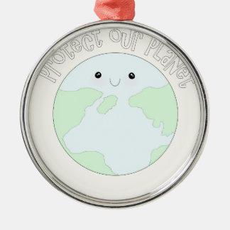地球を救って下さい及び私達のplanet.jpgを保護して下さい メタルオーナメント