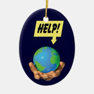 地球を救済して下さい セラミックオーナメント