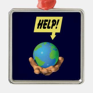 地球を救済して下さい メタルオーナメント