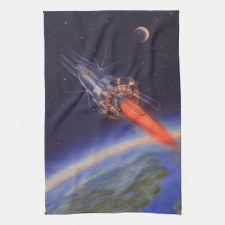 地球上の宇宙のヴィンテージの空想科学小説ロケット キッチンタオル