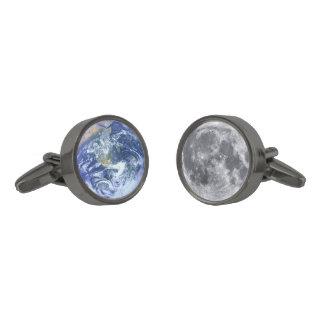 地球及び月 ガンメタル カフリンク