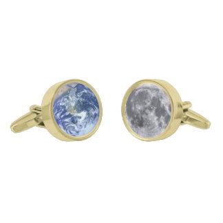 地球及び月 ゴールド カフスボタン