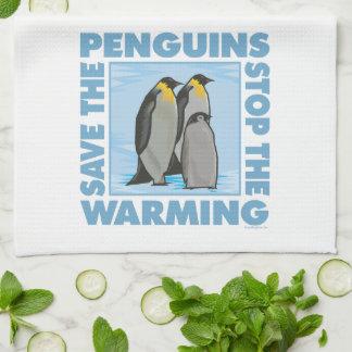 地球温暖化のペンギン キッチンタオル