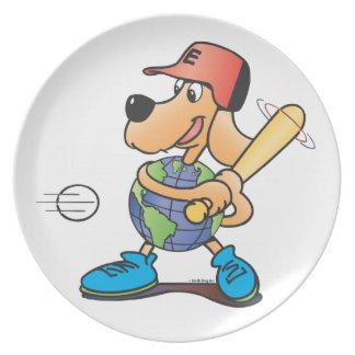 地球犬は野球のプレートを遊びます プレート