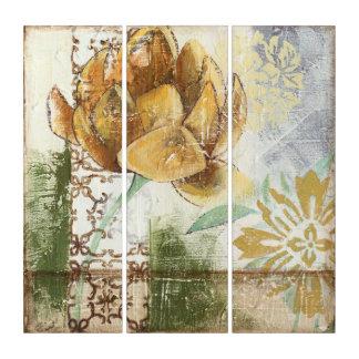 地球花との装飾的なフレスコ画のデザイン トリプティカ