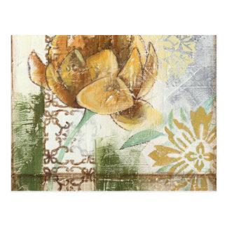 地球花との装飾的なフレスコ画のデザイン ポストカード