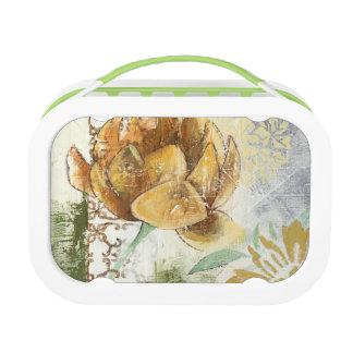 地球花との装飾的なフレスコ画のデザイン ランチボックス
