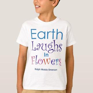 """""""地球花""""はラルフ・ワルド・エマーソンで笑います Tシャツ"""