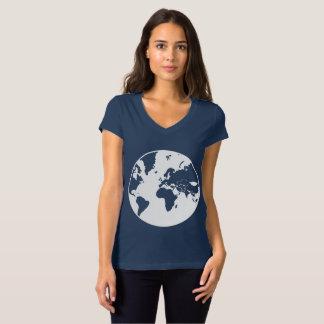 地球/女性のBellaジャージーのV首のTシャツ Tシャツ