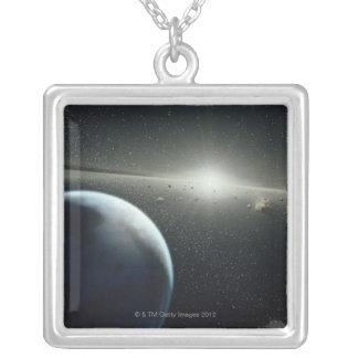 地球、小惑星帯および星 ネックレス