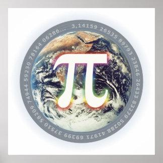 地球-数学ポスターのPi数 ポスター