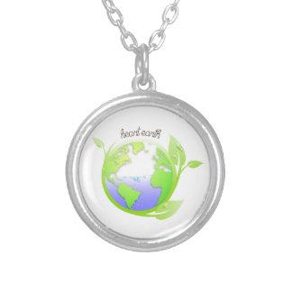 地球、環境 シルバープレートネックレス