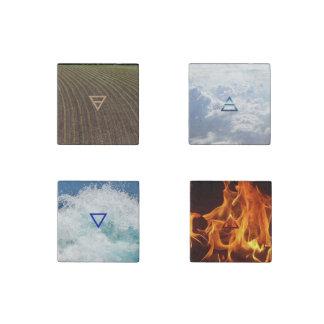 地球、空気、火および水: 4つの要素の磁石 ストーンマグネット
