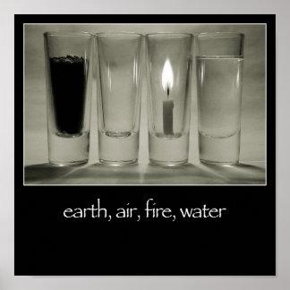 地球、空気、火、水ポスター ポスター