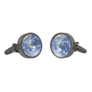 地球: 青い大理石 ガンメタル カフスボタン
