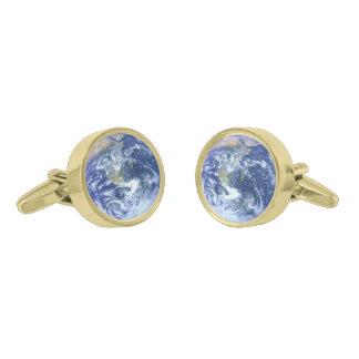 地球-青い大理石 ゴールド カフスボタン