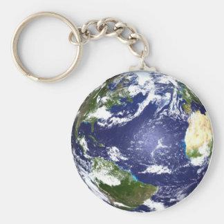 地球Keychain ベーシック丸型缶キーホルダー