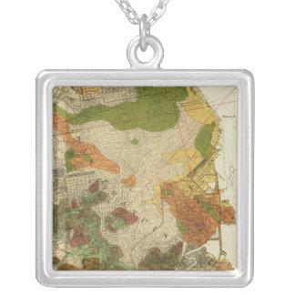 地質地図サンフランシスコ シルバープレートネックレス