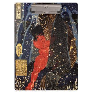 坂田金時と巨鯉、国芳、Sakata Kintoki及び巨大なコイ、Kuniyoshi クリップボード