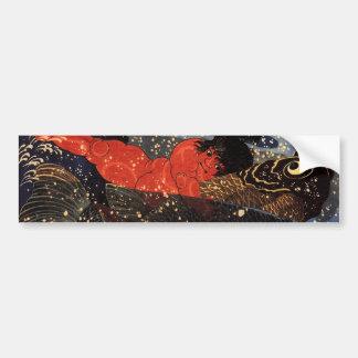 坂田金時と巨鯉、国芳、Sakata Kintoki及び巨大なコイ、Kuniyoshi バンパーステッカー