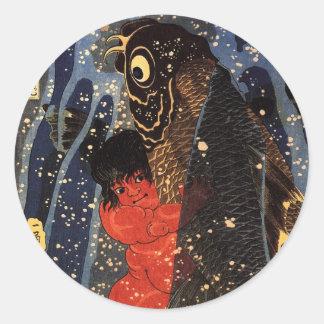 坂田金時と巨鯉、国芳、Sakata Kintoki及び巨大なコイ、Kuniyoshi ラウンドシール