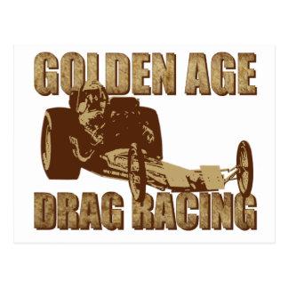 坑夫のdragsterを競争させる黄金時代のドラッグ ポストカード