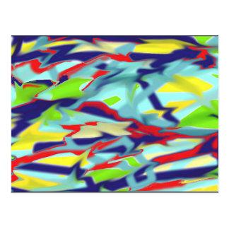型枠のデジタル芸術の郵便はがき-青への無秩序 ポストカード