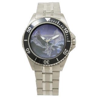 城およびドラゴンのクラシックなステンレス鋼の腕時計 腕時計