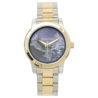 城およびドラゴンのツートーン腕時計 腕時計