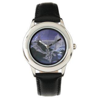 城およびドラゴンの子供のステンレス鋼の腕時計 腕時計