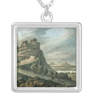 城との岩が多い景色 シルバープレートネックレス