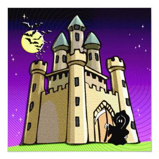 城のドアの城のこうもりそして死神 カード