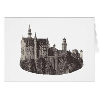 城のノイシュヴァンシュタイン城の白黒写真 カード