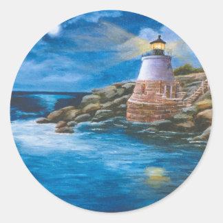 城の丘の灯台ステッカー ラウンドシール