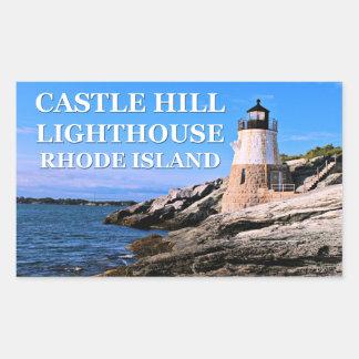 城の丘の灯台、ロードアイランド 長方形シール