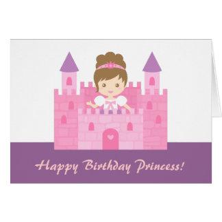 城の女の子のハッピーバースデーのかわいいプリンセス カード