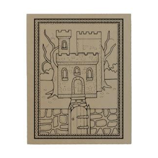 城の線画のデザイン ウッドウォールアート