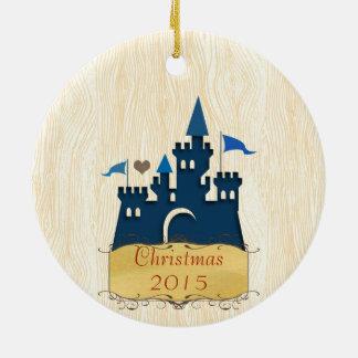 城の背部が付いているクリスマスの家族写真 セラミックオーナメント