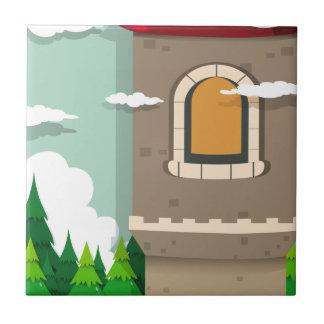 城タワーおよび松の木 タイル