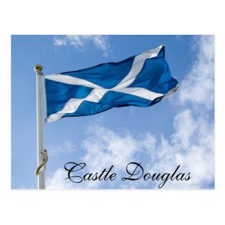 城ダグラスで高く飛ぶScotlands Saltire ポストカード